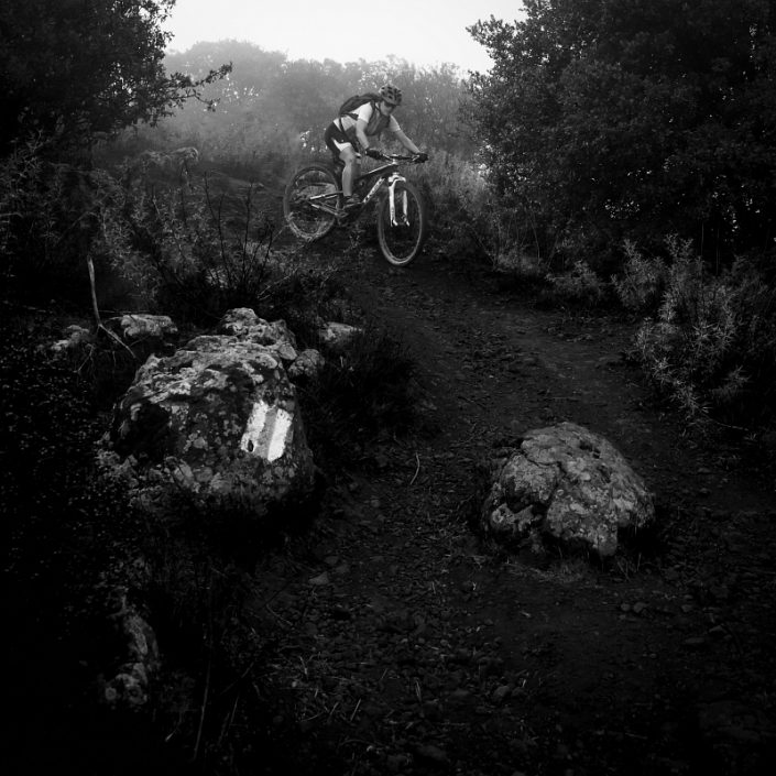 Rider and rocks on a slope