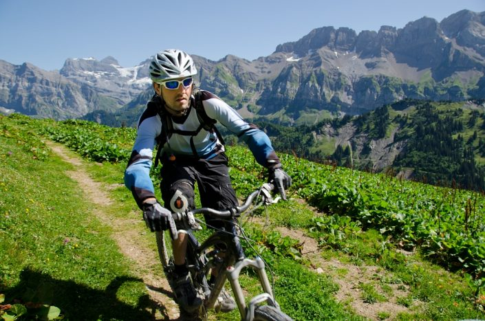 Mountain Biker in Swiss Alps