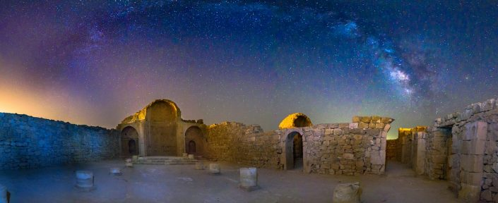 Ancient Church Under the Arching Milky Way