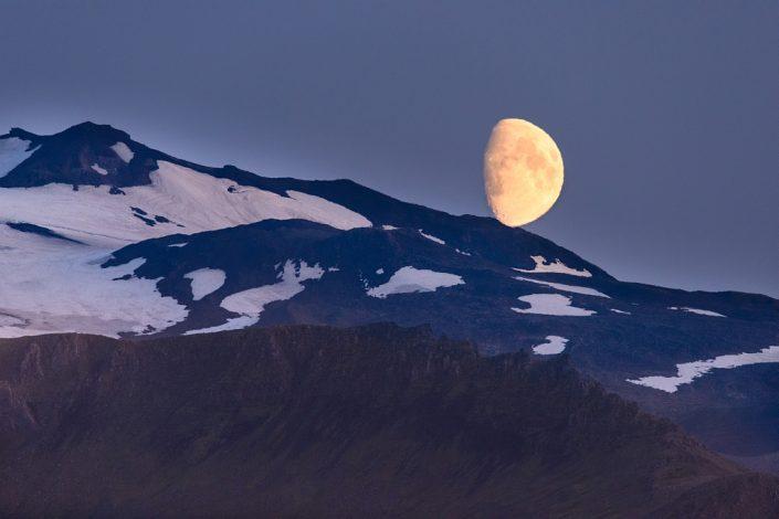 Moon over Snaefellsjokull