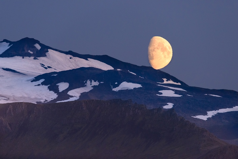 Moon over Snaefellsjokull