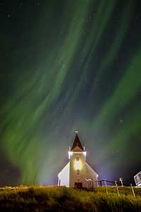 Hellisandur Church with Aurora, Iceland