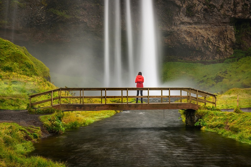 Seljalandsfoss Lady in Red