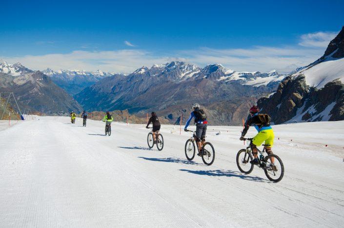 Riding down a Glacier
