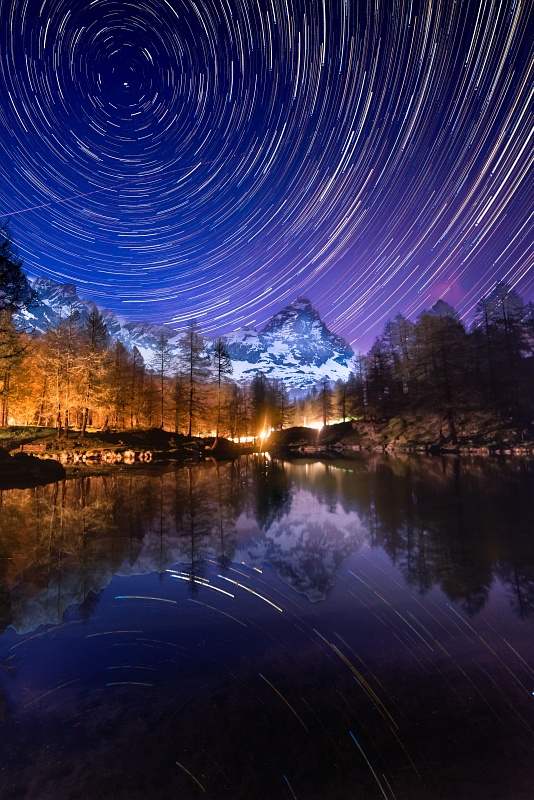 Star Trails over mt. Cervino